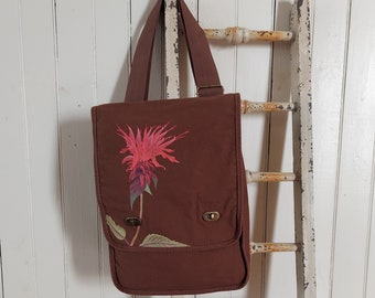 Hand-Painted, One-of-a-Kind, Bee Balm, Canvas Field Bag