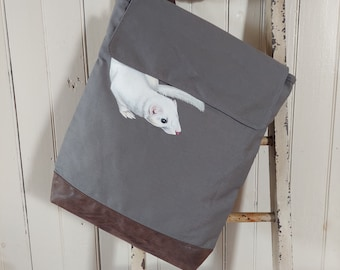 Hand-Painted, One-of-a-Kind, Weasel, Canvas Rucksack