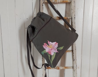 Hand Painted, One-of-a-Kind, Alstroemeria, Canvas Drawstring Bag
