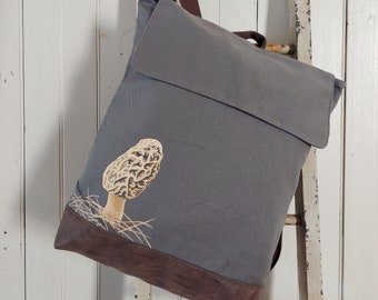 Hand Painted, One-of-a-Kind, Morel, Canvas, Rucksack