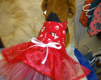 A Red Valentine Heart Dress with tulle peticoat