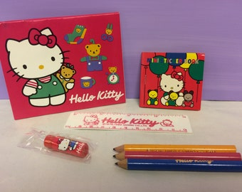 c344ec731 Vintage Hello Kitty, Stationary Set, Cute Kawaii Sanrio Collectible, 1980s  1989, Sticker book, Notepad and Pencils, Ruler and Crayon Set