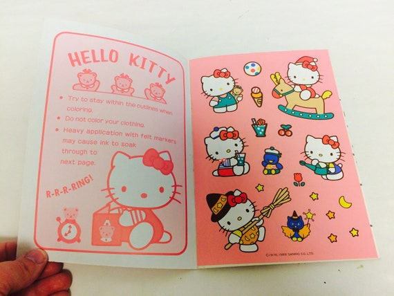 9b0ce2bd6 Vintage Hello Kitty Coloring Book with Stickers Cute Kawaii | Etsy