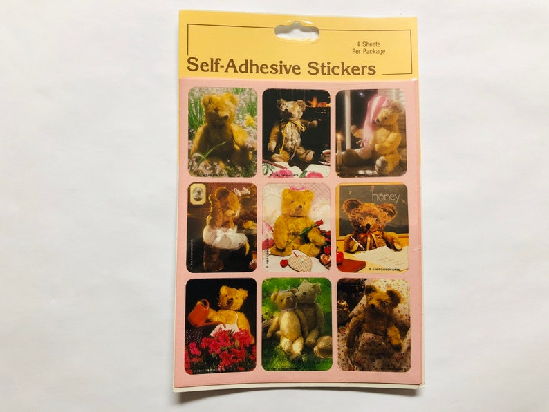 Vintage Teddy Bear Stickers Gibson Greeting Cards 4 Sheet Pack 1980s Stickers 1987 Gibson GRTS Cute Collectible Sealed New Old Stock