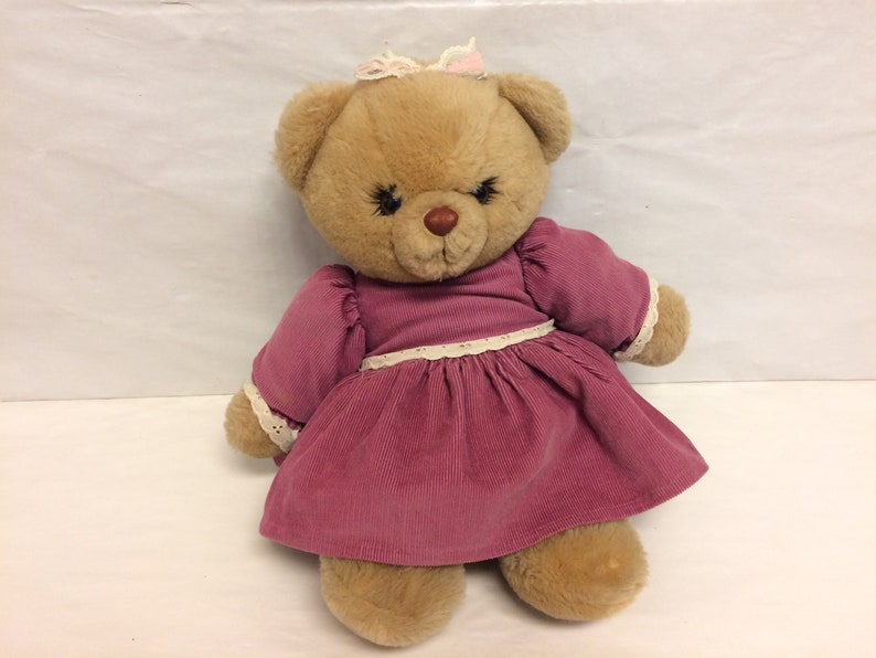 Bessie Bear, Russ Bear, Vintage Stuffed Teddy Bear, Plush Animal  Cute Bear  with Eyelashes and Dress, Vintage Russ Berrie, Collectible Bear
