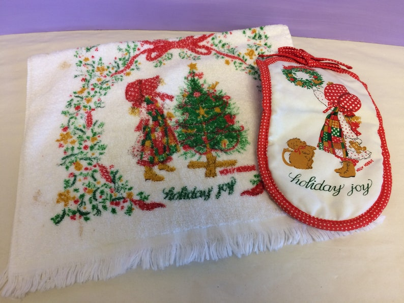 Holly Pad And Oven TowelPot Holder Towel SetHoliday Hobbie Hot CollectibleCute Kitchen MittChristmas DecorVintage Hand Joy rCeQBdxoW
