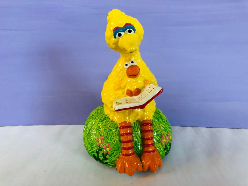 785325a200 Vintage Big Bird Music Box Gorham Rotating Big Bird Sesame