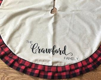 personalized plaid christmas tree skirt family personalized christmas tree skirt - Christmas Tree Skirts Etsy