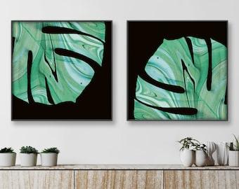 Monstera plant leaves prints. Set of 2 black and green square artwork. Swiss cheese plant art print. Botanical art. Nature print