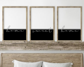 Home sweet home print set. Minimalist artwork in black and white for living room. Typography poster in cursive. Modern quotes color block