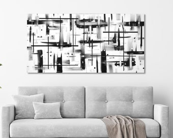 Black and white painting on canvas. 24x48. Canvas art. Modern painting. Large neutral color painting. Abstract wall art. Contemporary art