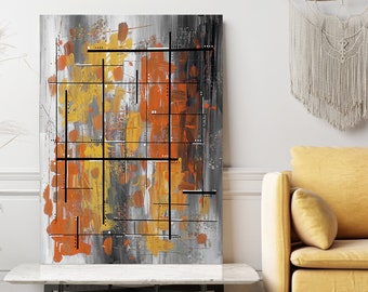 """Yellow and orange painting. Original geometric painting. Abstract art. 24x36"""" Modern wall art with grey background."""