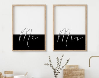 Mr and Mrs print set. Minimalist artwork in black and white for bedroom. Typography poster in cursive. Modern quotes color block Mr and Mr.