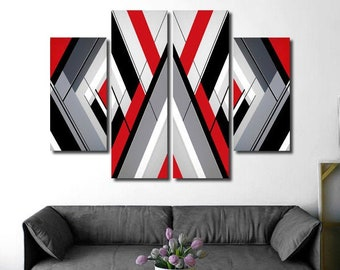 """Original geometric painting. Red, black grey and white painting. Abstract art 54x36"""" Large painting. 4 piece canvas art. Big living room art"""