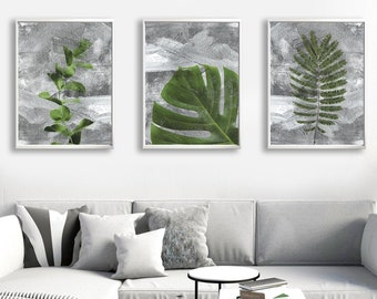 Set of 3 prints of plants. Green and gra prints of plant leaves. Monstera leaf with concrete background. Botanical art. Tropical decor