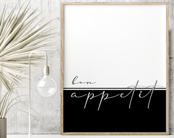 Bon appetit print. Minimalist artwork in black and white for the kitchen. Typography cursive poster. Modern quotes color block. French quote