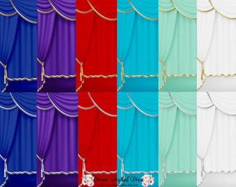 3 Color Curtains Drapes Gold Silver Trim Royal Blue Red Etsy