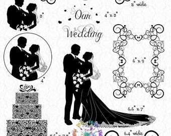 Wedding silhouette etsy elegant wedding silhouette clipart bride groom cake frame ornament divider transparent digital images png instant download junglespirit Gallery