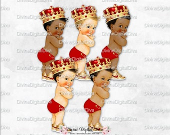 3 skin tones Clipart Instant download African American Baby Royal princess red gold baby girl Baby shower decorations LG074