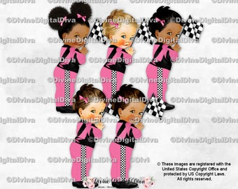 Clipart Instant Download Baby Boy 3 Skin Tones Race Car Driver Black White Overalls Jumpsuit Hat Checkered Flag Racing