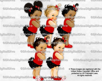 Light Skin Tone Baby Girl Clipart Instant Download Ice Cream Cone Sprinkles Ruffle Pants Red Green Teal Yellow Royal Blue