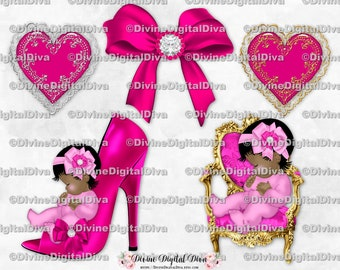 Sleeping Baby Girl Kit Pink /& Silver Heart Diamond Bassinet Bow Background Clipart Instant Download Light Skin Tone