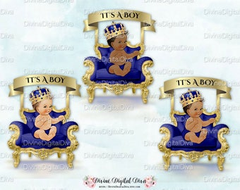 Little Prince Royal Blue   Gold Chair Banner Crown  ef358c955