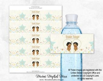 Twins Boy Or Girl Printable Baby Shower Water Bottle Labels Digital File BS61 EDITABLE text in Microsoft\u00ae Word Gender Reveal