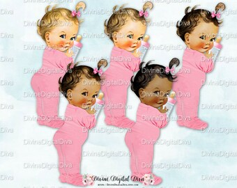 Vintage Baby Girl Pink Footie Pajamas   Bottle  bc3509867