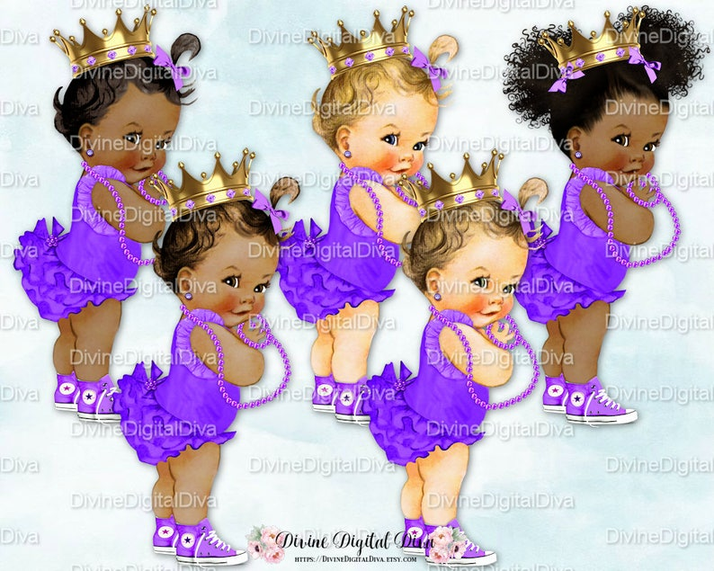 830c76bae7dd1 Princess Ruffle Pants Bright Purple Gold Crown Pearls Sneakers | Vintage  Baby Girl | 3 Skin Tones | Clipart Instant Download