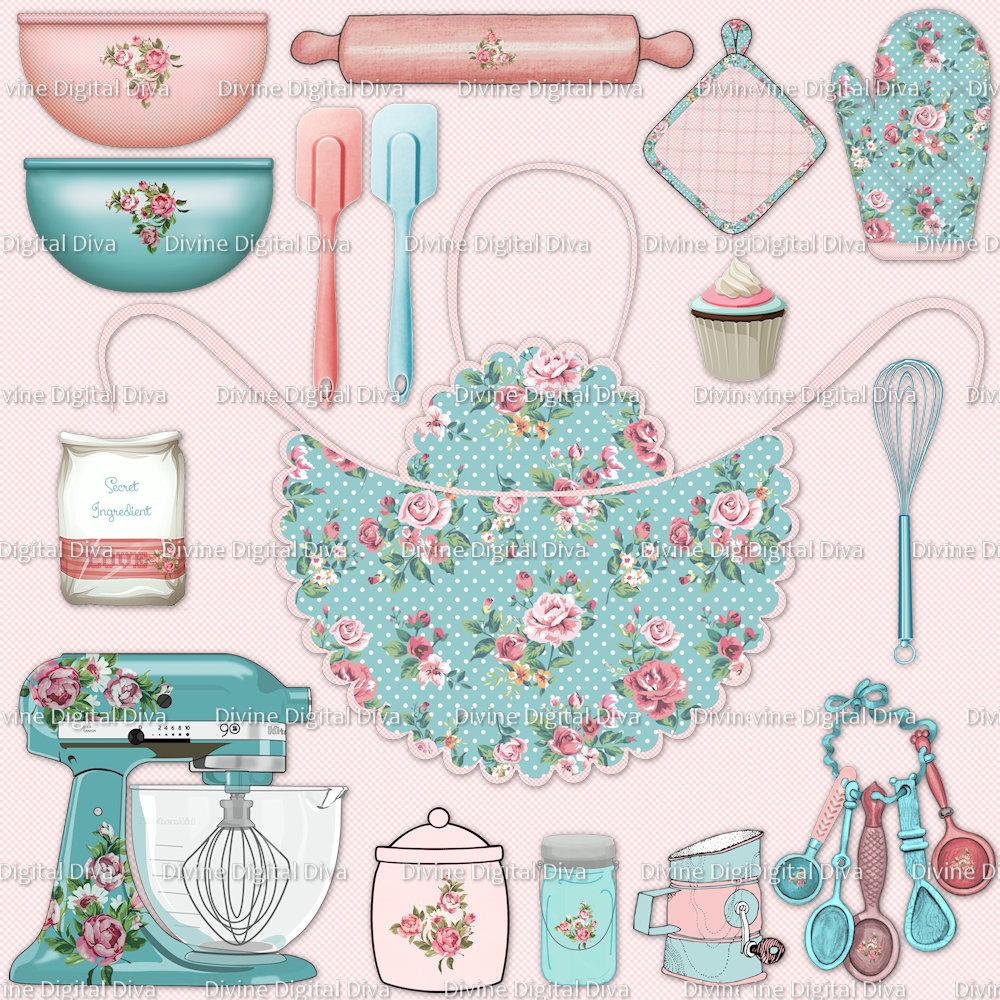 Shabby Roses Baking Clipart Pink & Aqua Apron Pot Holder | Etsy