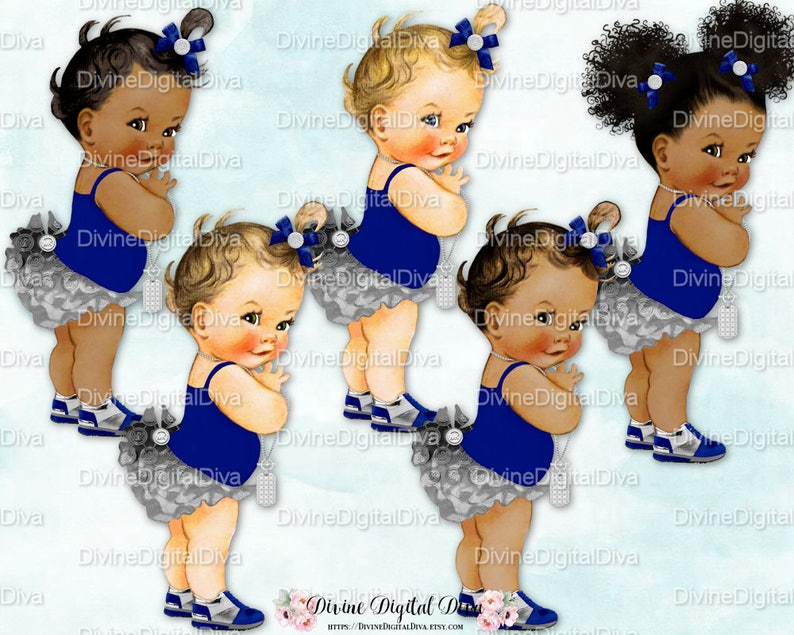 Ruffle Pants Navy Blue /& Silver Sneakers Bows Necklace Clipart Instant Download Baby Girl 3 Skin Tones Puffs