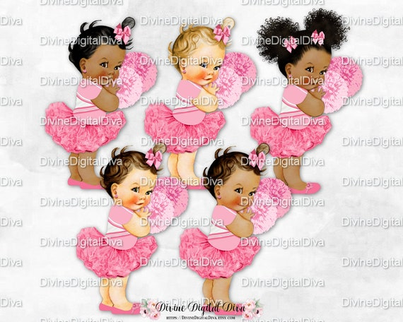 3 Skin Tones Clipart Instant Download Denim Shirt Light Pink Tutu Slippers Bows Vintage Ballerina Baby Girl