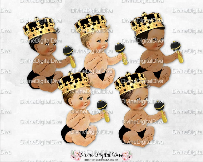 Baby Boy 3 Skin Tones Clipart Instant Download Little Prince Black Diaper Bow Tie Gold Crown Sneakers