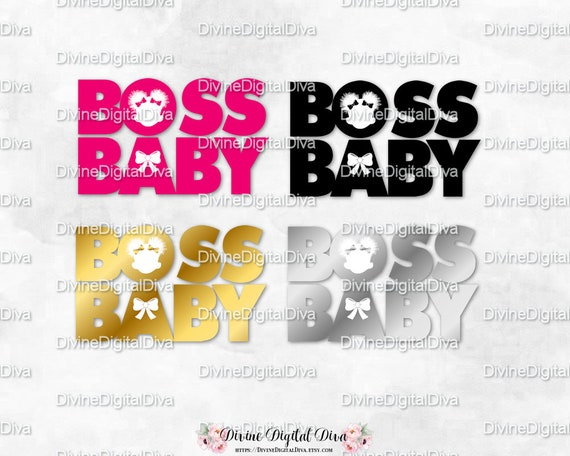 Baby Girl Boss With Puffs Word Art Pink Black Gold Silver Instant Download Png Digital