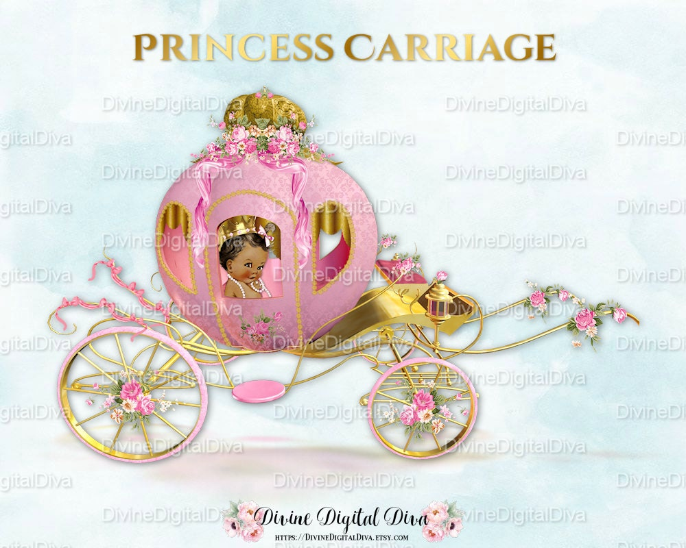 Princess Cinderella Carriage Coach Pink & Gold African | Etsy