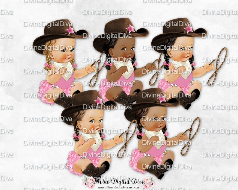 bbfbe43b2af4f Sitting Little Cowgirl Pink   Brown Cowboy Hat Boots Scarf