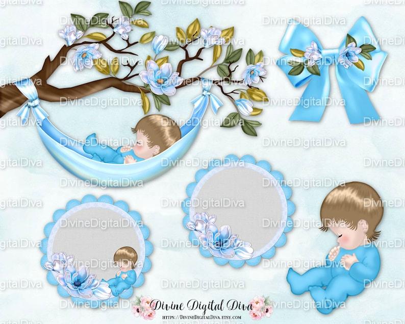Sleeping Baby Magnolia Tree Branch Boy Hammock Bow Circles Etsy