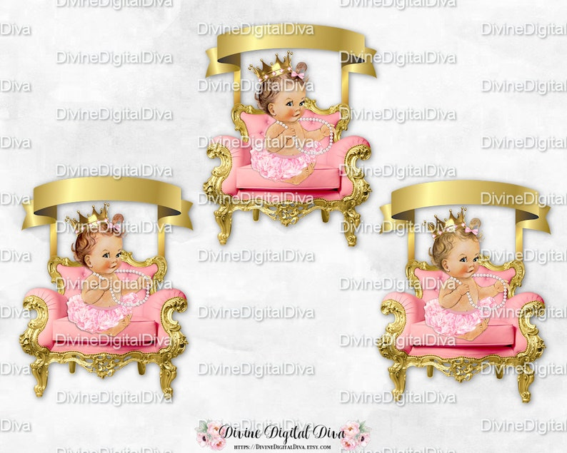 Clipart Instant Download Vintage Baby Girl Light Skin Tones Ballerina Pink Gold Chair Banner Tutu Crown Pearl Necklace