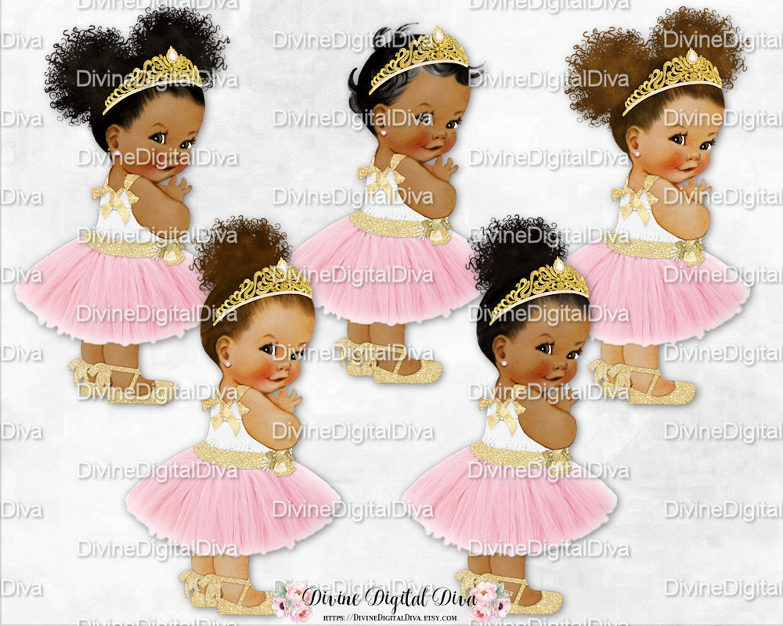 blush pink tulle party dress gold tiara ankle ribbon ballet shoe | vintage baby girl afro puffs | clipart instant download