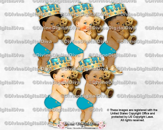 Clipart Instant Download Little Prince Sitting Caribbean Turquoise Blue Silver Ornate Crown Sitting Baby Boy 3 Skin Tones
