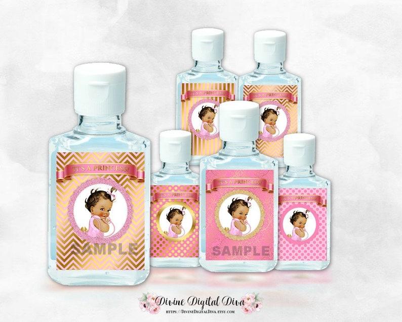 Mini Hand Sanitizer Labels 1 oz | Little Princess Pink & Gold | Medium Tone  Vintage Baby Girl | Digital Instant Download