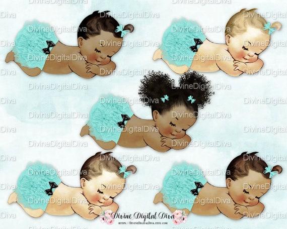 Sleeping Baby Girl Turquoise Blue Green Ruffle Pants Black Bow Etsy
