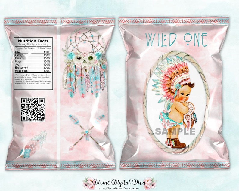 Printable Chip Bags Wild One Blush Pink Aqua Tribal Native Feather Headdress Light Skin Tone Baby Girl Digital Instant Download