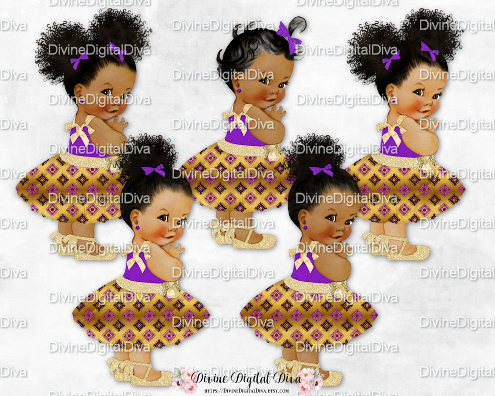 african princess purple black & gold african kente print party dress ballet shoe | african american skin tone | clipart instant