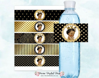 Water Bottle Labels Black & Gold | African American Princess Ruffle Pants Crown | Digital Instant Download