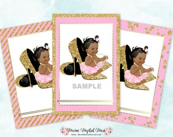 Baby Girl Sitting on Gold Shoes | Thank You Tags Labels | Pink & Gold | African American Princess | Digital Instant Download