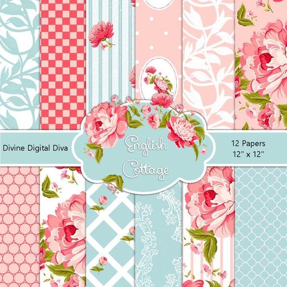 English cottage digital scrap paper pack pink roses damask etsy image 0 mightylinksfo