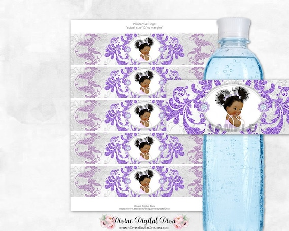 12 Ethnic Princess Baby Shower Birthday Party Water Bottle Stickers Purple Gold