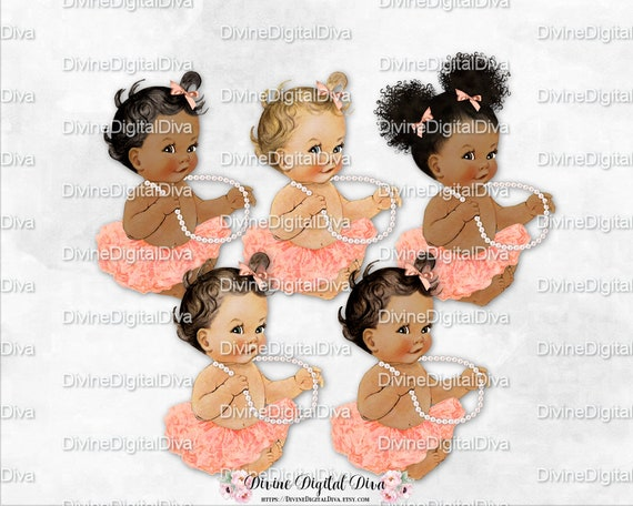Vintage Baby Girl Princess Ballerina Peach Tutu Gold Crown Pearl Necklace Clipart Instant Download 3 Skin Tones